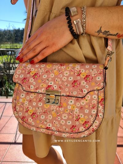 Bolso Oval Flores Rosa