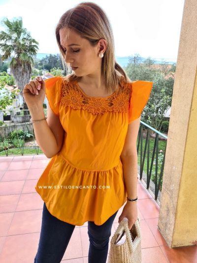 Blusa Flower Naranja