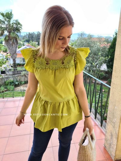Blusa Flower Verde Lima