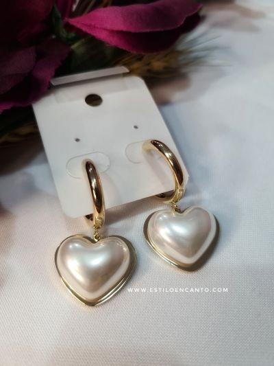 Pendientes Perlas Corazón