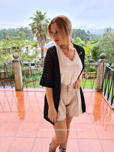 Kimono Crochet Negro